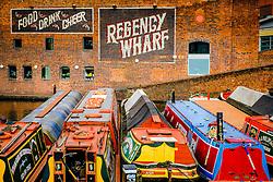 Canal boats at Regency Wharf in the centre of Birmingham, England<br /> <br /> (c) Andrew Wilson | Edinburgh Elite media