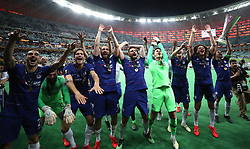 Chelsea players celebrate after the UEFA Europa League final at The Olympic Stadium, Baku, Azerbaijan. PRESS ASSOCIATION Photo. Picture date: Wednesday May 29, 2019. See PA SOCCER Europa. Photo credit should read: Bradley Collyer/PA Wire