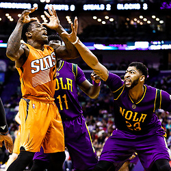 Feb 6, 2017; New Orleans, LA, USA; New Orleans Pelicans forward Anthony Davis (23) knocks the ball away from Phoenix Suns guard Eric Bledsoe (2) during the second half of a game at the Smoothie King Center. The Pelicans defeated the Suns 111-106. Mandatory Credit: Derick E. Hingle-USA TODAY Sports