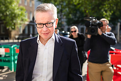 © Licensed to London News Pictures. 14/05/2019. London, UK. Secretary of State for Environment, Food and Rural Affairs Michael Gove arrives for the Cabinet meeting. Ministers are expected to discuss no deal planning and alternatives to a cross-party compromise with Labour on the withdrawal agreement. Photo credit: Rob Pinney/LNP