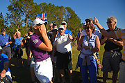 Olafia Kristinsdottir of Iceland celebrates after taking second at LPGA Q-School Stage 3 on the Hills Course at LPGA International in Daytona Beach, Florida on Dec. 4, 2016.<br /> <br /> <br /> ©2016 Scott A. Miller