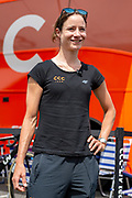 Marianne Vos (NED) riding for CCC-Liv giving a pre-race interview ahead of stage 2 of the OVO Energy Women's Tour 2019 at Cyclopark, Gravesend, United Kingdom on 11 June 2019.