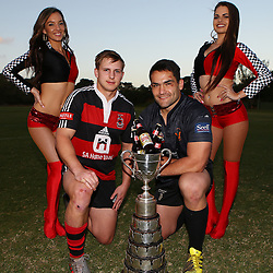 DURBAN, SOUTH AFRICA, 8th August, 2016 - The Castle Murray Cup Dancers with Andrew Holland captain of SA Home Loans Durban Collegians with Kevin Buck  captain of Amanzimtoti Rugby Club during the press conference prior to the Final of the Castle Murray Cup knockout rugby match between  Amanzimtoti Rugby Club and SA Home Loans Durban Collegians at the Crusaders rugby club Durban North,Durban, South Africa. (Photo by Steve Haag)<br /> <br /> images for social media must have consent from Steve Haag