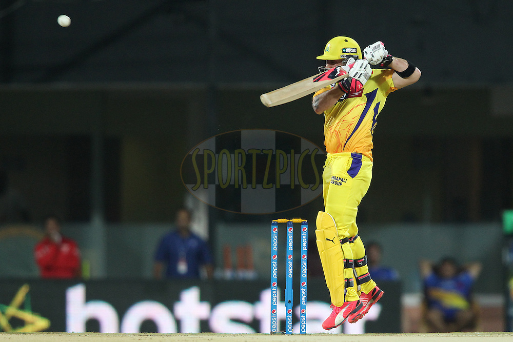 Brendon McCullum of Chennai Super Kings plays a delivery towards the third man boundary during match 43 of the Pepsi IPL 2015 (Indian Premier League) between The Chennai Super Kings and The Mumbai Indians held at the M. A. Chidambaram Stadium, Chennai Stadium in Chennai, India on the 8th May April 2015.<br /> <br /> Photo by:  Shaun Roy / SPORTZPICS / IPL
