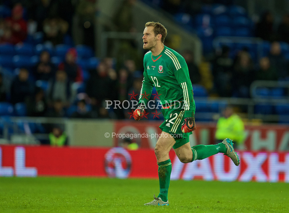 CARDIFF, WALES - Friday, November 13, 2015: Wales' goalkeeper Owain Fon Williams in action against the Netherlands during the International Friendly match at the Cardiff City Stadium. (Pic by David Rawcliffe/Propaganda)