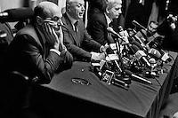 """ROME, ITALY - 24 JANUARY 2013: (L-R) Members of the center-left coalition Pierluigi Bersani (PD - Democratic Party, leader running for Prime Minister), Bruno Tabacci (Democratic Center) and Nichi Vendola (Left Ecology Freedom) give a press conference in Rome at the Ripetta Residence in Rome, on January 24, 2013. Pierluigi Bersani, running for Prime Minister in the 2013 elections in Italy, said he wouldn't dump his ally Nichi Vendola for former PM Mario Monti.  A general election to determine the 630 members of the Chamber of Deputies and the 315 elective members of the Senate, the two houses of the Italian parliament, will take place on 24–25 February 2013. The main candidates running for Prime Minister are Pierluigi Bersani (leader of the centre-left coalition """"Italy. Common Good""""), former PM Mario Monti (leader of the centrist coalition """"With Monti for Italy"""") and former PM Silvio Berlusconi (leader of the centre-right coalition). ### ROMA, ITALIA - 24 GENNAIO 2013: (da sinistra a destra) i membri della coalition di centro-sinistra Pierluigi Bersani (PD - Partito Democratico, leader candidate alla Presidenza del Consiglio), Bruno Tabacci (Centro Democratico) e Nichi Vendola (Sinistra Ecologia Libertà) presentano la coalizione di centro-sinistra in una conferenza stampa al Residence Ripetta a Roma, il 24 gennaio 2013. Le elezioni politiche italiane del 2013 per il rinnovo dei due rami del Parlamento italiano – la Camera dei deputati e il Senato della Repubblica – si terranno domenica 24 e lunedì 25 febbraio 2013 a seguito dello scioglimento anticipato delle Camere avvenuto il 22 dicembre 2012, quattro mesi prima della conclusione naturale della XVI Legislatura. I principali candidate per la Presidenza del Consiglio soon Pierluigi Bersani (leader della coalizione di centro-sinistra """"Italia. Bene Comune""""), il premier uscente Mario Monti (leader della coalizione di centro """"Con Monti per l'Italia"""") e l'ex-premier Silvio Berlusconi (leader della coalizione di ce"""