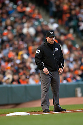 SAN FRANCISCO, CA - MAY 09:  MLB umpire Marty Foster #60 stands on the field during the fourth inning between the San Francisco Giants and the Miami Marlins at AT&T Park on May 9, 2015 in San Francisco, California.  The Miami Marlins defeated the San Francisco Giants 6-2. (Photo by Jason O. Watson/Getty Images) *** Local Caption *** Marty Foster