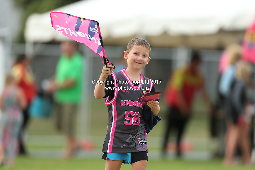 Young Knights fan ahead of the Burger King Super Smash Twenty20 cricket match Knights v Stags played at Bay Oval, Mount Maunganui, New Zealand on Wednesday 27 December 2017.<br /> <br /> Copyright photo: © Bruce Lim / www.photosport.nz