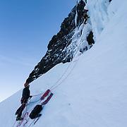"""Skarphéðinn Halldórsson and Guðlaugur IngiGuðlaugsson climbing """" Gredda nærri banvæn """" FA. WI4+, 90m. Tröllhamrar, Breiðdalur, Iceland."""