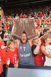 14.06.2015, Brose Arena, Bamberg, GER, Beko Basketball BL, Brose Baskets Bamberg vs FC Bayern Muenchen, Playoffs, Finale, 3. Spiel, im Bild Ein Fan der Brose Baskets Bamberg bejubelt den Sieg gegen den FC Bayern Muenchen Basketball mit einer Lederhose, welche symbolisch fuer den Schlachtruf &quot;Zieht den Bayern die Lederhosen aus&quot; steht. // during the Beko Basketball Bundes league Playoffs, final round, 3rd match between Brose Baskets Bamberg and FC Bayern Muenchen at the Brose Arena in Bamberg, Germany on 2015/06/14. EXPA Pictures &copy; 2015, PhotoCredit: EXPA/ Eibner-Pressefoto/ Merz<br /> <br /> *****ATTENTION - OUT of GER*****