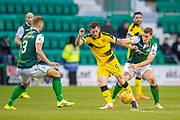 Liam Buchanan (#9) of Raith Rovers FC shields the ball from Paul Hanlon (#4) of Hibernian FC during the William Hill Scottish Cup match between Hibernian FC and Raith Rovers FC at Easter Road Stadium, Edinburgh, Scotland on 9 February 2019.