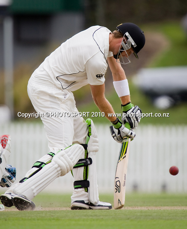 Martin Guptill on the way to scoring his century during day 2 of the one off test cricket match between New Zealand Black Caps and Bangladesh at Seddon Park, Hamilton, New Zealand, Tuesday 16 February 2010. Photo: Stephen Barker/PHOTOSPORT
