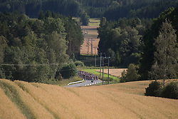 The peloton approaches the bottom of the main climb of Stage 1 of the Ladies Tour of Norway - a 101.5 km road race, between Halden and Mysen on August 18, 2017, in Ostfold, Norway. (Photo by Balint Hamvas/Velofocus.com)