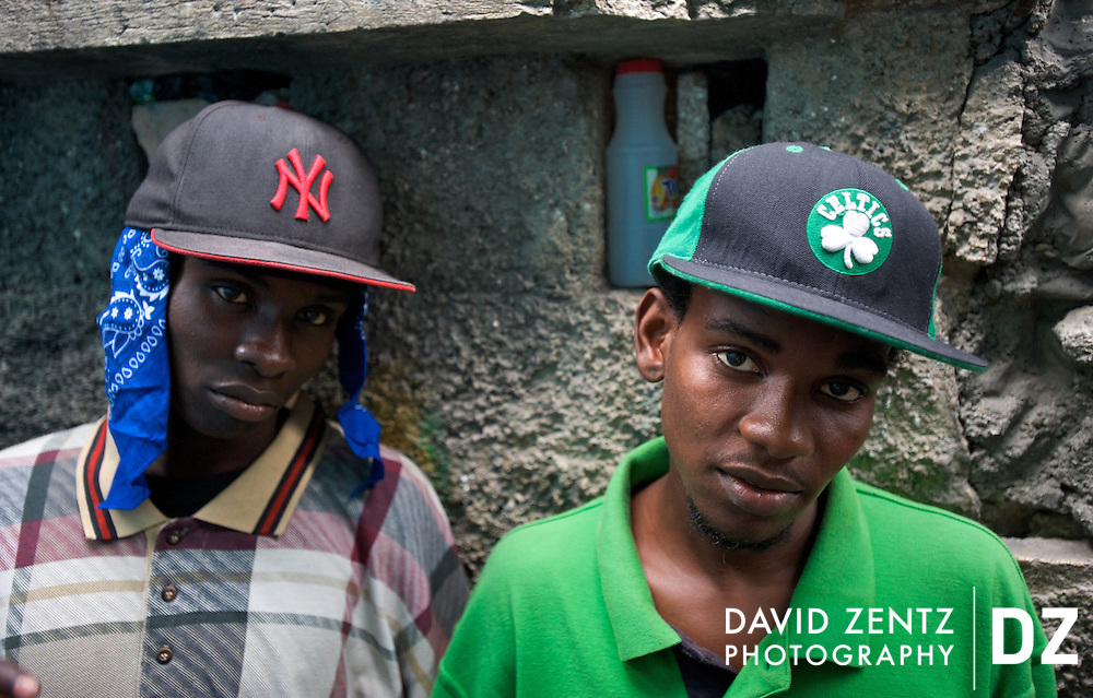 Rap kreyol artists DRZ and Hurry wear hip-hop fashions largely inspired by their U.S. counterparts outside of NGS studio in the Salomon neighborhood of Port-au-Prince, Haiti on July 17, 2008.