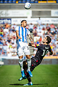 Huddersfield Town Karlon Grant heads the ball during the EFL Sky Bet Championship match between Huddersfield Town and Reading at the John Smiths Stadium, Huddersfield, England on 24 August 2019.