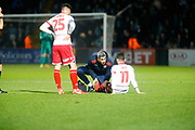 Stevenage's midfielder Tom Pett receives treatment on the pitch during the EFL Sky Bet League 2 match between Stevenage and Coventry City at the Lamex Stadium, Stevenage, England on 21 November 2017. Photo by Matt Bristow.