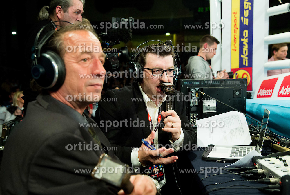 Journalist Leon Andrejka at fight of Dejan Zavec alias Jan Zaveck of Slovenia (Red) and Sasha Yengoyan (Blue) of Belgium for World WBF Champion during First Class Boxing event, on April 11, 2015 in Arena Tabor, Maribor, Slovenia. Photo by Vid Ponikvar / Sportida