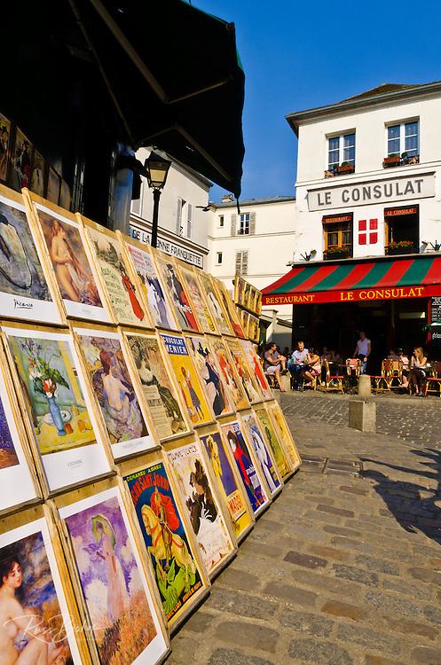 Antique prints and Le Consulat Restaurant in Montmartre, Paris, France