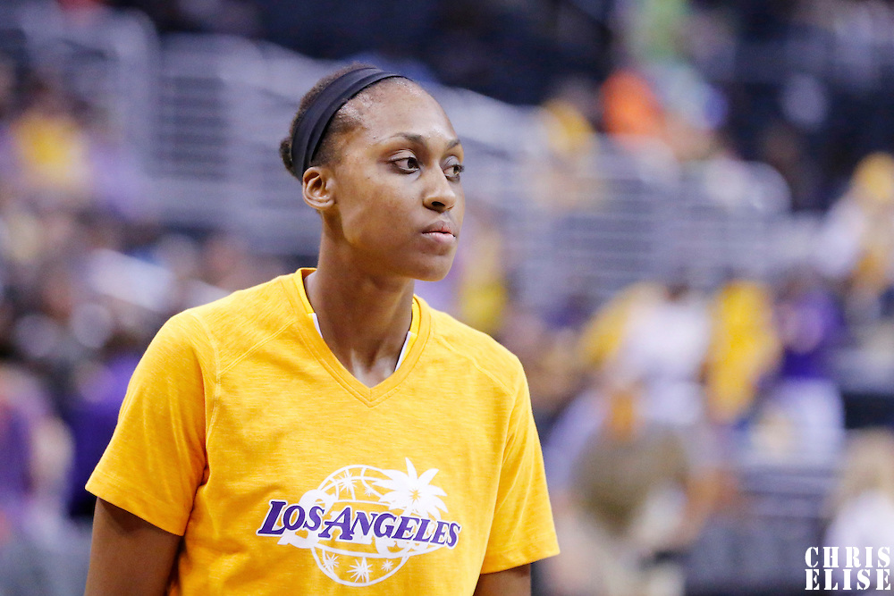 18 May 2014: Los Angeles Sparks forward/center Sandrine Gruda (7) is seen prior to the Phoenix Mercury 74-69 victory over the Los Angeles Sparks, at the Staples Center, Los Angeles, California, USA.