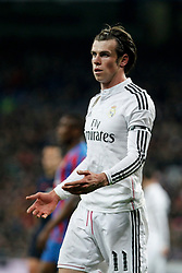 15.03.2015, Estadio Santiago Bernabeu, Madrid, ESP, Primera Division, Real Madrid vs UD Levante, 27. Runde, im Bild Real Madrid&acute;s Gareth Bale celebrates // during the Spanish Primera Division 27th round match between Real Madrid CF and UD Levante at the Estadio Santiago Bernabeu in Madrid, Spain on 2015/03/15. EXPA Pictures &copy; 2015, PhotoCredit: EXPA/ Alterphotos/ Victor Blanco<br /> <br /> *****ATTENTION - OUT of ESP, SUI*****