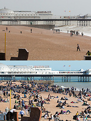 © Licensed to London News Pictures. 26/03/2016. Brighton, UK. Compassion picture showing an almost empty and grey Brighton beach at lunchtime today (26/03/2016) and people enjoying the warm sunshine at lunchtime yesterday (25/03/2016). The bank holiday Easter weekend is expected to be a washout for large parts of the UK, with grey and wet weather conditions expected.. Photo credit: Hugo Michiels/LNP