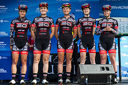 May 18, 2018 - South Lake Tahoe, California, U.S - Friday, May 18, 2018.The TWENTY20 Pro Cycling (USA) team is introduced prior to Stage 2 of the Amgen Tour of California Women's Race empowered with SRAM, which starts and finishes in South Lake Tahoe, California, near Heavenly Ski Resort. (Credit Image: © Tracy Barbutes via ZUMA Wire)