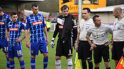 Veteran Roy Carroll leads County out ahead of the Sky Bet League 2 match between Crawley Town and Notts County at the Checkatrade.com Stadium, Crawley, England on 16 January 2016. Photo by Michael Hulf.