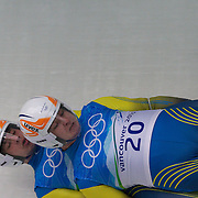 Winter Olympics, Vancouver, 2010.Taras Senkiv and Roman Zakharkiv, Ukraine, in action during the Luge Doubles at the Whistler Sliding Centre, Whistler, during the Vancouver  Winter Olympics. 16th February 2010. Photo Tim Clayton