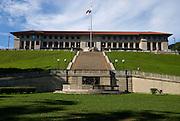 Edificio administrativo del Canal de Panama. El edificio se encuentra en la cima de una loma, prominentemente orientado hacia el Canal, el Puerto de Balboa, y partes de la ciudad de Panamá. El Edificio de la Administración es la oficina principal de la Autoridad del Canal de Panamá (ACP).Foto: Ramon Lepage / Istmophoto.