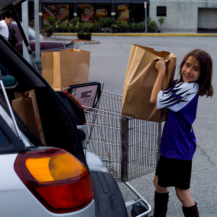 Energy is used to do work.  Girl carrying grocery bag to car.