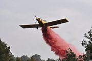 Israel, Haifa Carmel Mountain Forest, Aircraft dropping fire retardant on a wildfire