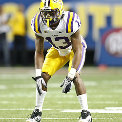 Dec 3, 2011; Atlanta, GA, USA; LSU Tigers cornerback Ron Brooks (13) against the Georgia Bulldogs during the second half of the 2011 SEC championship game at the Georgia Dome.  Mandatory Credit: Derick E. Hingle-US PRESSWIRE