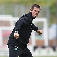 04/10/15 LADBROKES PREMIERSHIP<br /> HAMILTON v CELTIC <br /> NEW DOUGLAS PARK - HAMILTON <br /> Celtic Manager Ronny Deila celebrates at full-time