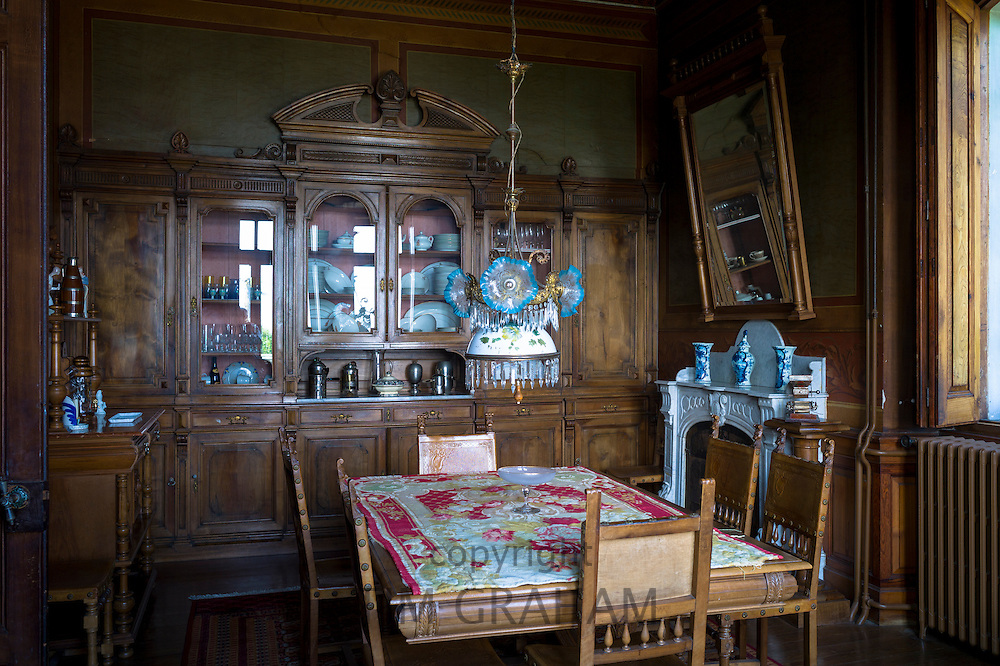 Salon interior of La Casona, traditional Indianos house designed by architect Garcia Nava, built 1900 in village of Samao, Asturias, Spain