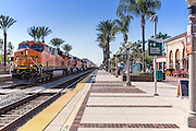 BNSF Railroad Train Stopped at Fullerton Santa Fe Depot