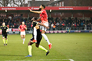 \Salford City forward Jake Jervis goes for the ball during the EFL Sky Bet League 2 match between Salford City and Macclesfield Town at the Peninsula Stadium, Salford, United Kingdom on 23 November 2019.