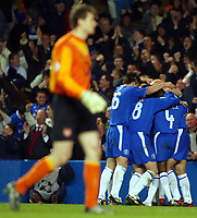 Photo: Scott Heavey.<br />Chelsea v Arsenal. Champions League Quarter Final, First Leg. 24/03/2004.<br />Jens Lehman trudges back to his goal after Eidur Gudjohnsen opened the scoring for Chelsea