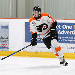 BURLINGTON, ON - SEP 9:  Kyle Waters #73 of the Orangeville Flyers during the pregame warm-up. OJHL regular season game between the Orangeville Flyers and the Burlington Cougars. Orangeville Flyers and Burlington Cougars  on September 9, 2016 in Burlington, Ontario. (Photo by Tim Bates / OJHL Images)