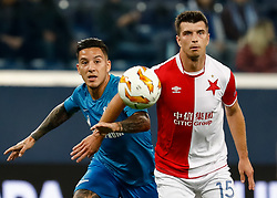 October 4, 2018 - Saint Petersburg, Russia - Sebastian Driussi (L) of FC Zenit Saint Petersburg and Ondrej Kudela of SK Slavia Prague vie for the ball during the Group C match of the UEFA Europa League between FC Zenit Saint Petersburg and SK Sparta Prague at Saint Petersburg Stadium on October 4, 2018 in Saint Petersburg, Russia. (Credit Image: © Mike Kireev/NurPhoto/ZUMA Press)