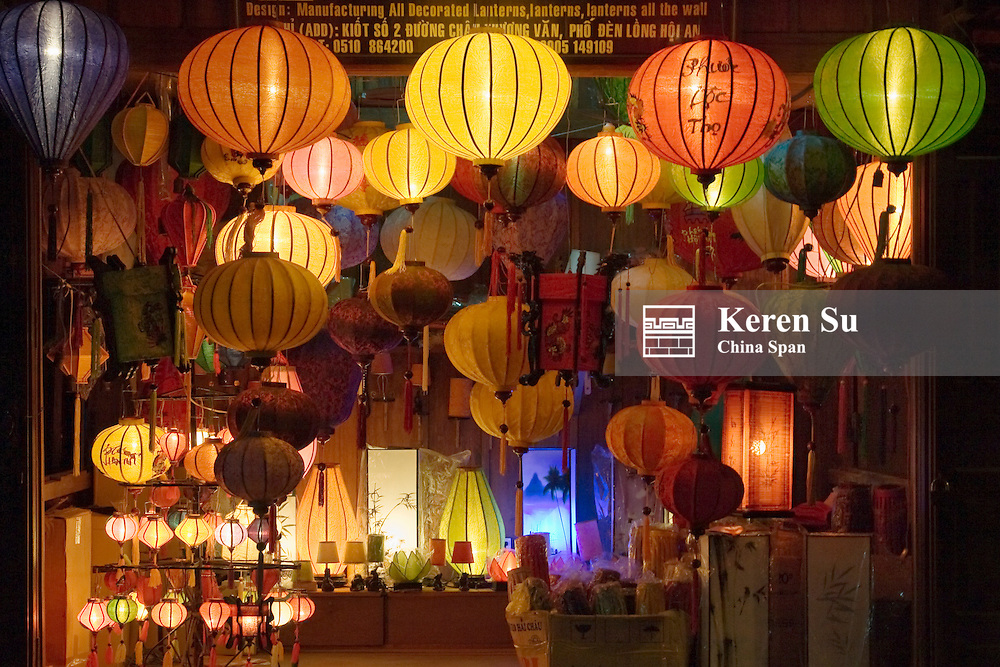 Night view of a lantern shop, Hoi An, Vietnam