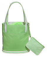 green and white striped pb tote bag