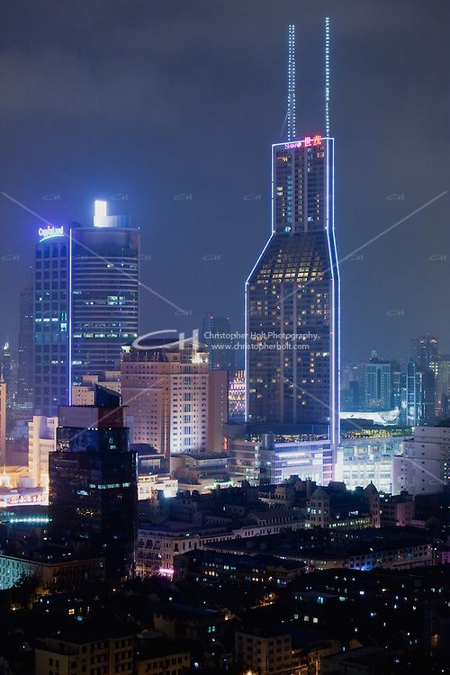 night scene of skyscrapers in Shanghai China