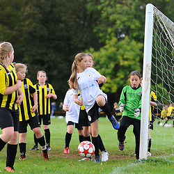 TELFORD COPYRIGHT MIKE SHERIDAN Action from AFC Telford United academy ladies/girls u10 at Idsall Sports Centre on Saturday, October 12, 2019.<br /> <br /> Picture credit: Mike Sheridan/Ultrapress<br /> <br /> MS201920-026