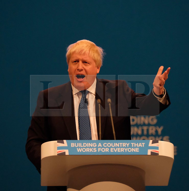 (c) Licensed to London News Pictures. <br /> 03/10/2017<br /> Manchester, UK<br /> <br /> Foreign Secretary Boris Johnson delivers his speech at the Conservative Party Conference held at the Manchester Central Convention Complex.<br /> <br /> Photo Credit: Ian Forsyth/LNP