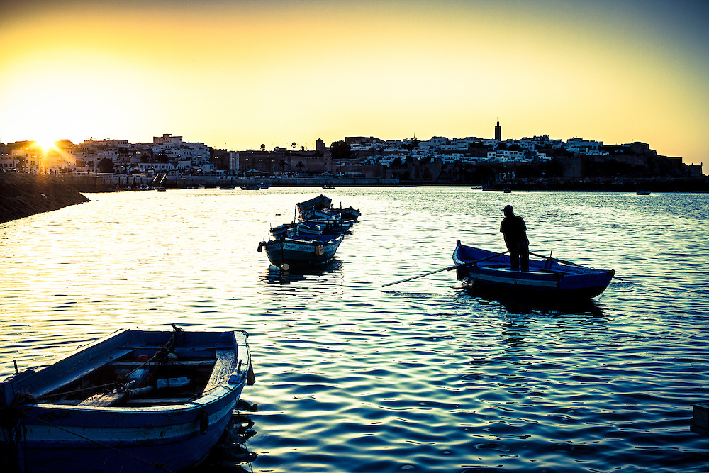 Where: Morrocco, Rabat. <br /> A great photo of the old city, river and sunset. I especially enjoy the water texture.