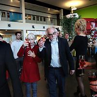 Nederland, Haarlem , 22 maart 2015.<br /> Fusiemoment Spaarneziekenhuis en Kennemergasthuis in Spaarnegasthuis. Voorzitter RVB van Spaarneziekenhuis Peter van Barneveld doet de offieciele speech tijdens het officiele moment alvorens de nieuwe vlaggen te hijsen met het nieuwe logo.<br /> Foto:Jean-Pierre Jans