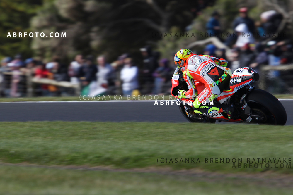 16 October 2011: Valentino Rossi (46) riding the factory Ducati exits turn 7 during the IVECO Australian MotoGP Grand Prix at the Phillip Island Circuit in Phillip Island, Victoria, Australia.