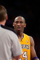 20 April 2011: Guard Kobe Bryant of the Los Angeles Lakers argues a call with NBA official Steve Javie while playing against the New Orleans Hornets during the first half of the Lakers 87-78 victory over the Hornets in Game 2 of the first round of the NBA Western Conference Playoffs at the STAPLES Center in Los Angeles, CA.