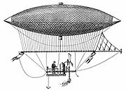 Henri Giffard's (1825-1882) steerable airship of 1852, the first dirigible. Engraving of 1903.
