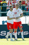 CHORZOW 01/06/2008.POLAND v DENMARK.INTERNATIONAL FRIENDLY.JACEK KRZYNOWEK /L/ WITH TEAM MATE MARIUSZ LEWANDOWSKI CELEBRATE THE GOAL FOR POLAND ..FOT. PIOTR HAWALEJ / WROFOTO